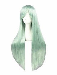 cheap -Cosplay Costume Wig Cosplay Wig Elizabeth Liones The Seven Deadly Sins Straight Cosplay Asymmetrical With Bangs Wig Very Long Green Synthetic Hair 32 inch Women's Anime Cosplay Best Quality Green