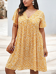 cheap -Women's A-Line Dress Knee Length Dress - Short Sleeves Floral Summer Casual 2020 Yellow Royal Blue XL XXL XXXL XXXXL