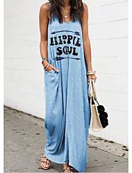 cheap -Women's Strap Dress Maxi long Dress - Sleeveless Letter Summer Casual 2020 Blushing Pink Khaki Gray Light Blue S M L XL XXL XXXL