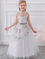 cheap -Princess / Ball Gown Floor Length Wedding / Party Flower Girl Dresses - Tulle Sleeveless Illusion Neck with Sash / Ribbon / Bow(s) / Embroidery