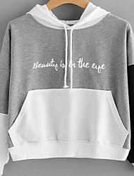 cheap -Women's Hoodie Color Block Basic Hoodies Sweatshirts  Cotton Gray