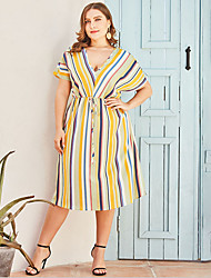 cheap -Women's Plus Size A-Line Dress Knee Length Dress - Short Sleeves Striped Summer V Neck Casual 2020 Yellow L XL XXL