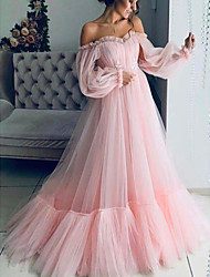 cheap -A-Line Elegant Minimalist Engagement Prom Dress Strapless Long Sleeve Floor Length Tulle with Pleats 2020
