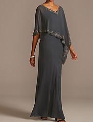 cheap -Sheath / Column Mother of the Bride Dress Elegant V Neck Floor Length Chiffon Half Sleeve with Beading 2021