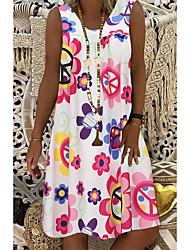 cheap -Women's A-Line Dress Midi Dress - Sleeveless Floral Summer Casual 2020 White Black Blue Purple Blushing Pink Navy Blue S M L XL XXL XXXL XXXXL XXXXXL