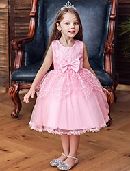 cheap -Princess / Ball Gown Floor Length Wedding / Party Flower Girl Dresses - Tulle Sleeveless Jewel Neck with Sash / Ribbon / Bow(s)