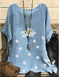 cheap -Women's Tops Floral T-shirt Round Neck Daily Summer Blue Yellow Gray M L XL 2XL 3XL 4XL 5XL