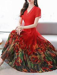 cheap -Women's Chiffon Dress Midi Dress - Short Sleeves Floral Summer Work 2020 Blue Red Green M L XL XXL XXXL