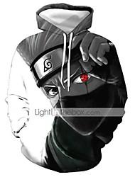 cheap -Men's Hoodie 3D / Character / Skull Hooded Casual / Basic Light gray S M L XL XXL XXXL