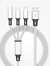 cheap -Micro USB / Lightning / Type-C to Lightning Cable 3 A 1.2m(4Ft) Normal / All-In-1 / 1 to 3 Nylon / ABS+PC USB Cable Adapter For Macbook / iPad / Samsung