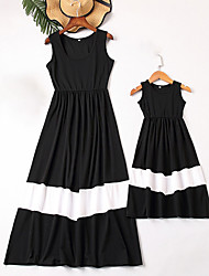 cheap -Mommy and Me Vintage Sweet Black & White Color Block Print Sleeveless Maxi Dress Black
