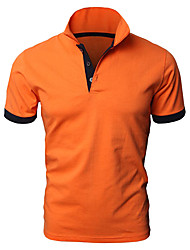 cheap -Men's Solid Colored Black Patchwork Polo Basic Daily White / Black / Orange / Navy Blue / Short Sleeve