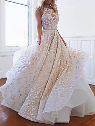 cheap -Ball Gown Wedding Dresses Spaghetti Strap Jewel Neck Sweep / Brush Train Lace Organza Sleeveless Formal Sexy Backless with Appliques 2020