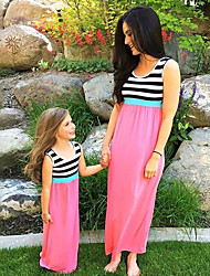 cheap -Mommy and Me Vintage Sweet Black & White Striped Color Block Print Sleeveless Maxi Dress Blushing Pink