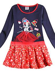 cheap -Kids Girls' Active Sweet Blue Cartoon Bow Patchwork Long Sleeve Knee-length Dress Royal Blue
