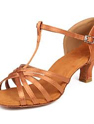 cheap -Women's Latin Shoes Salsa Shoes Heel Buckle Cuban Heel Black Brown Beige Buckle
