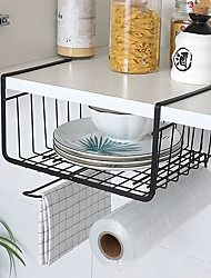 cheap -Kitchen Storage Bin Under Shelf Wire Rack Cabinet Basket Iron Storage Tableware Organizer Holder Stand Kitchen Tools Hanging