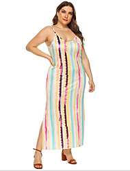 cheap -Women's Strap Dress Maxi long Dress Yellow Sleeveless Striped Summer Round Neck Casual Chinoiserie 2021 L XL XXL 3XL 4XL / Plus Size