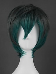 cheap -Cosplay Wig Lolita Straight Cosplay Halloween Asymmetrical Wig Short Green Synthetic Hair 14 inch Men's Anime Cosplay Easy to Carry Green