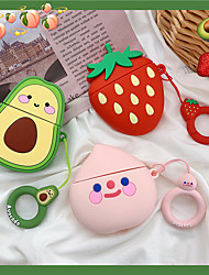 cheap -For AirPods 2/1 Cute Soft Silicone Earphone Case For Apple Air Pods 2  Cartoon Strawberry Avocado Peach Cover With Hooks