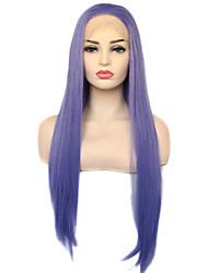 Недорогие -моде королева натуральный синий фиолетовый длинный прямой синтетический парик фронта шнурка ежедневно носить для женщин