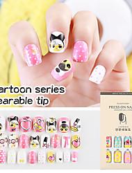 cheap -24pcs Cartoon Wear Manicure False Nail Patch Manicure Sweet Lovely