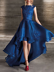 cheap -A-Line Beautiful Back Floral Party Wear Formal Evening Dress Jewel Neck Sleeveless Asymmetrical Lace Satin with Pleats Appliques 2020