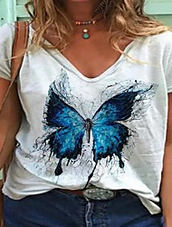 cheap -Women's Tops Animal T-shirt Round Neck Daily Summer White Yellow S M L XL 2XL 3XL 4XL 5XL