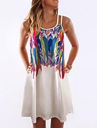 cheap -Women's Strap Dress Short Mini Dress - Sleeveless Graphic Print Summer Holiday 2020 White Red Yellow Orange Light Blue S M L XL XXL XXXL XXXXXL