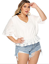 cheap -Women's Plus Size T shirt Solid Colored V Neck Tops Cotton Basic Top White
