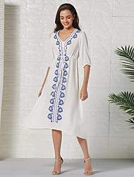 cheap -Women's Sheath Dress Knee Length Dress - Half Sleeve Geometric Summer Casual Daily 2020 White S M L XL XXL