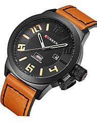 cheap -CURREN Men's Dress Watch Quartz Modern Style Stylish Casual Water Resistant / Waterproof Analog Black / Silver Black Silver / One Year / Leather / Japanese / Calendar / date / day / Shock Resistant