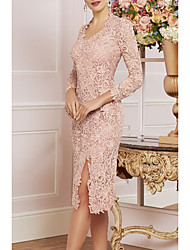 cheap -Sheath / Column Mother of the Bride Dress Plus Size V Neck Knee Length Lace 3/4 Length Sleeve with Lace Split Front 2020