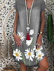 cheap -Women's A-Line Dress Knee Length Dress - Short Sleeves Floral Summer Casual 2020 Blue Purple Light Green Gray Light Blue S M L XL XXL XXXL