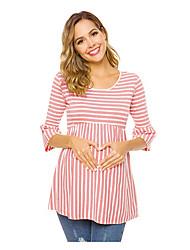 cheap -Women's T-shirt Striped Tops Round Neck Daily Black Blue Blushing Pink S M L XL 2XL