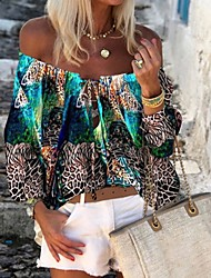cheap -Women's Tops Color Block Blouse Off Shoulder Daily Summer Purple Red Green Light Blue S M L XL 2XL