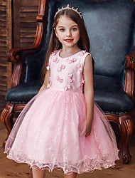 cheap -Princess / Ball Gown Knee Length Wedding / Party Flower Girl Dresses - Tulle Sleeveless Jewel Neck with Bow(s) / Appliques