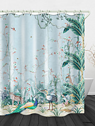 cheap -Hand Painted Jungle Pattern Waterproof Fabric Shower Curtain for Bathroom Home Decor Covered Bathtub Curtains with Hooks