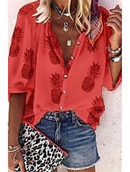 voordelige -Dames Tops Fruit Ananas Overhemd Opstaande boord Elegant Dagelijks Lente Herfst Wit Rood Grijs Licht Blauw S M L XL 2XL 3XL 4XL 5XL