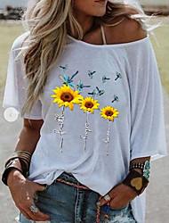 voordelige -Dames Tops Geometrisch T-shirt Schouderafhangend Dagelijks Zomer Wit Geel Grijs S M L XL 2XL 3XL 4XL