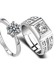 cheap -Couple Rings Cubic Zirconia Classic Silver Copper Silver-Plated Imitation Diamond Flower Stylish 2pcs Adjustable / Couple's / Band Ring