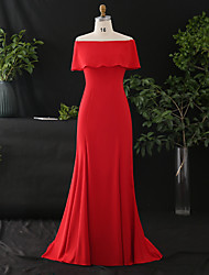 cheap -Mermaid / Trumpet Empire Sexy Engagement Formal Evening Dress Off Shoulder Short Sleeve Sweep / Brush Train Spandex with Ruffles 2020