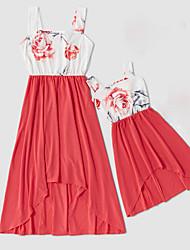 billiga -Mamma och jag Vintage Ljuv Blommig Färgblock Tryck Ärmlös Midi Klänning Rubinrött