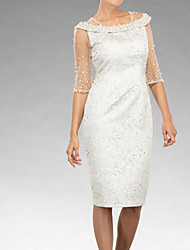 cheap -Sheath / Column Mother of the Bride Dress Elegant Jewel Neck Knee Length Lace Tulle Half Sleeve with Beading Embroidery 2020 / Illusion Sleeve