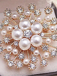 cheap -Brooches Hollow Out Flower Fashion Imitation Pearl Brooch Jewelry Silver Gold Red For Gift Festival