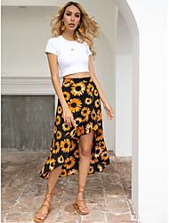 cheap -Women's Swing Skirts - Floral Black XS S M