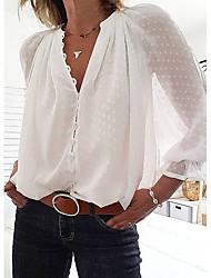 Недорогие -Жен. Однотонный Блуза Уличный стиль На каждый день V-образный вырез Белый