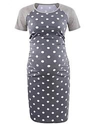 cheap -Women's T Shirt Dress Knee Length Dress - Short Sleeves Polka Dot Floral Summer Casual 2020 Blue Gray S M L XL