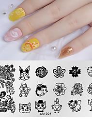 tanie -1 szt. Narzędzie do stemplowania paznokci Szablon do stemplowania Seria zwierzęca / Seria kwiatowa Multi-Design Nail Art Manicure Pedicure Proste codziennie
