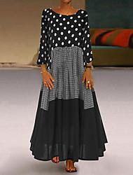 cheap -Women's Plus Size Maxi A Line Dress - Long Sleeve Polka Dot Patchwork Print Spring Fall Casual Holiday Vacation Loose 2020 Black Red Yellow M L XL XXL XXXL XXXXL XXXXXL